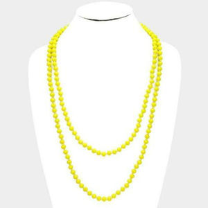 "Yellow 60"" Faceted Bead Necklace Knotted"